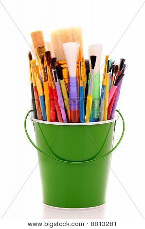Bucket Of Artist Brushes
