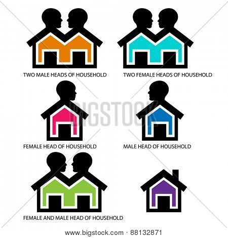 Head of households icons - Houses with heads  -    combinations for head of households: male &female,lone female,lone male,male and male,female and female