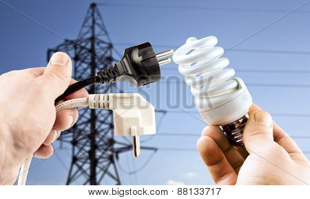 Fluorescent Bulb And Plug In The Hands