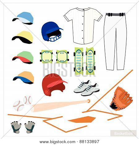 Set Of Baseball Equipment On White Background