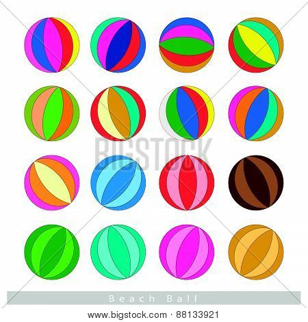 Set Of Beach Balls On White Background