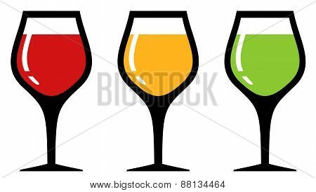 set glass with alcohol beverage