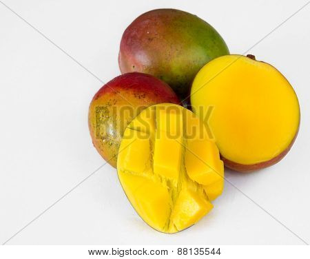 Tropical Fruits: Three Mangos White Background Not Isolated