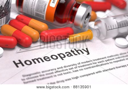 Homeopathy - Medical Concept. 3D Render.