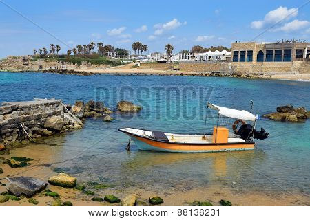 Fishing Boat At Ancient Port Caesarea, Israel