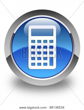 Calculator Icon Glossy Blue Round Button