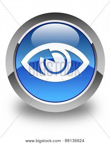 Eye Icon Glossy Blue Round Button