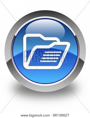 Folder Icon Glossy Blue Round Button
