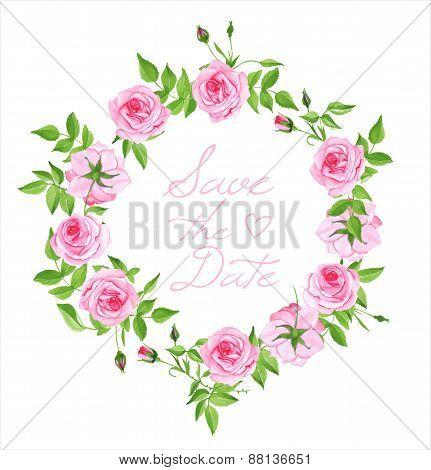 Pink Roses Vintage Vector Design Frame