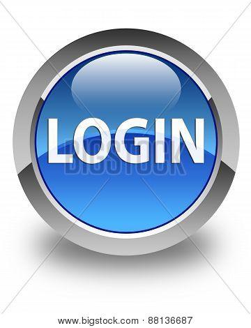 Login Glossy Blue Round Button