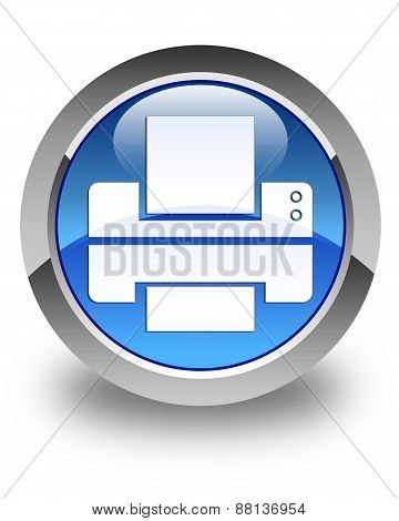 Printer Icon Glossy Blue Round Button