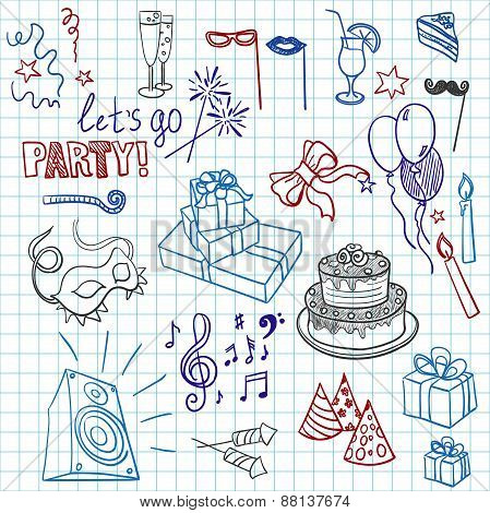 Colored set of sketch party objects hand-drawn