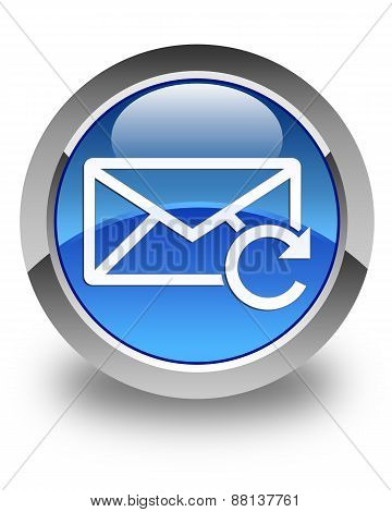 Refresh Email Icon Glossy Blue Round Button