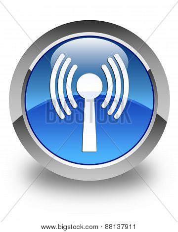 Wlan Network Icon Glossy Blue Round Button