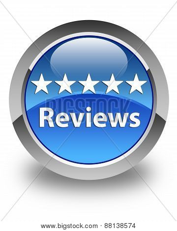 Reviews Glossy Blue Round Button