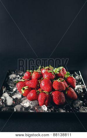Ripe Strawberry Berries On Ice