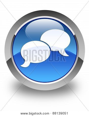 Chat Bubble Icon Glossy Blue Round Button