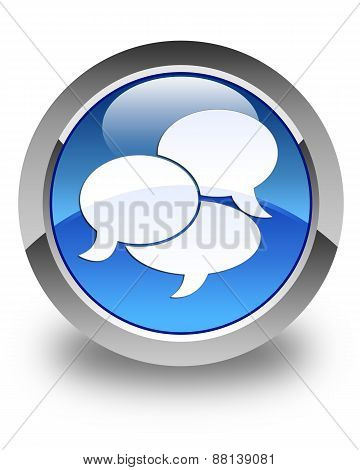 Comments Icon Glossy Blue Round Button