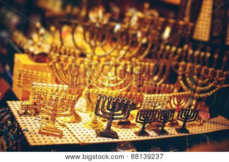 Menorah At The Jerusalem Old City Marketplace