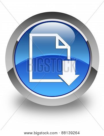 Download Document Icon Glossy Blue Round Button