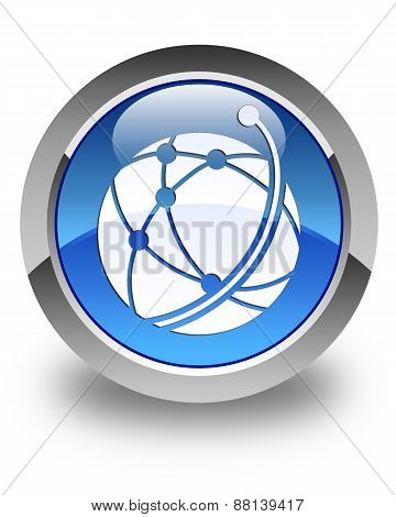 Global Network Icon Glossy Blue Round Button