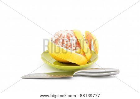 Grapefruit Peel On A White Background