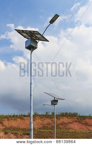 Close Up Of Electric Pole With Solar Panel, Use Of Solar Energy For Lightning, Brazil