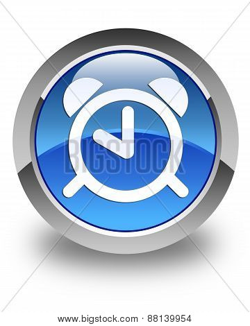 Alarm Clock Icon Glossy Blue Round Button