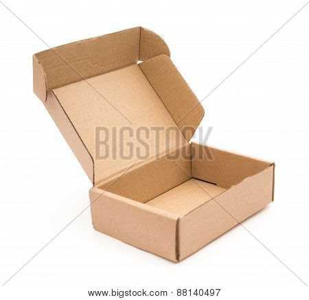 Brown Box Opened On A White Background