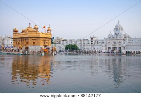 Morning view at Golden Temple in Amritsar, Punjab, India.