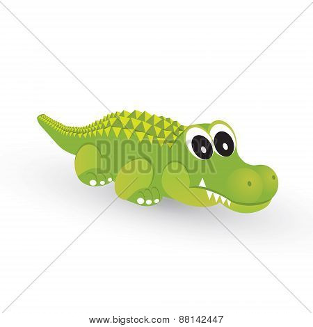 Little Green Crocodile On A White Background