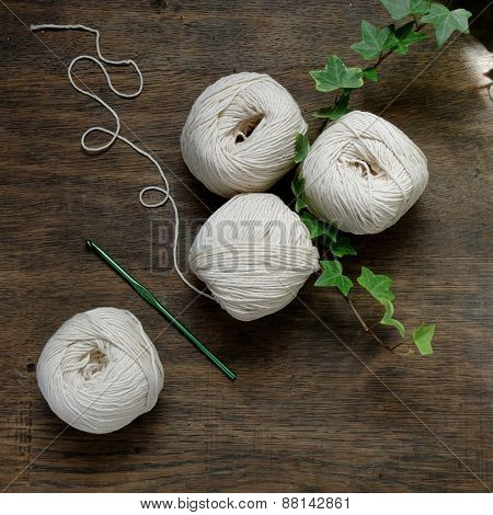 Ball Of Cream And Blue Yarn With Crochet Hook