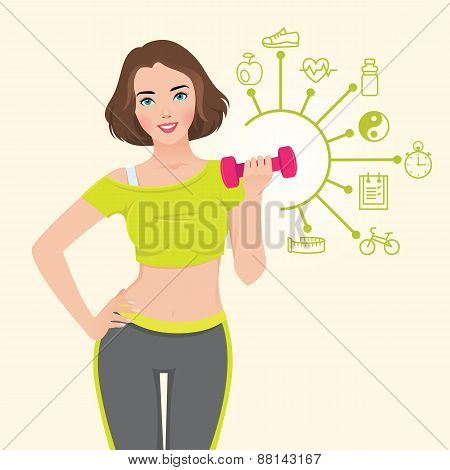 Vector Illustration With Elements Of Infographics Athletic Girl Doing Fitness