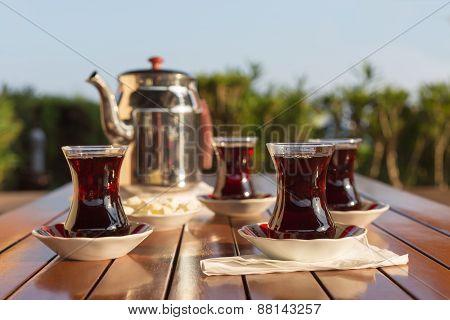 Concept Of Turkish Tea Accessories