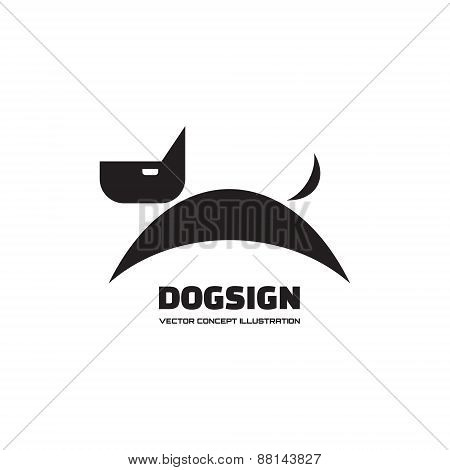 Dog sign - vector logo concept illustration.
