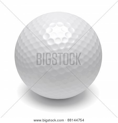 Golf Ball With Shadow On White