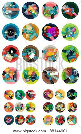 Set of vector circular flat design infographic concepts, banners, labels - paper graphics