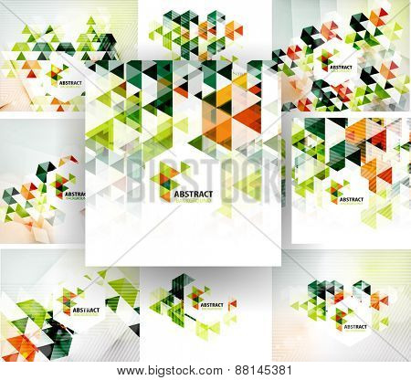 Set of geometric abstract polygonal backgrounds, modern business fresh templates