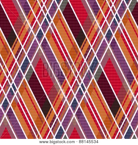 Rhombic Tartan Fabric Seamless Texture In Warm Hues