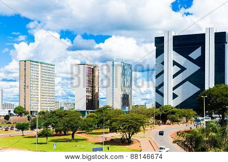 BRASILIA, BRAZIL - CIRCA MARCH 2015: Commercial buildings in Brasilia, Brazil.
