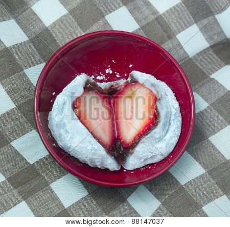 Strawberry Mochi Or Ichigo Daifuku In Japanese Bowl