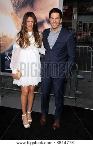 LOS ANGELES - FEB 16:  Lorenza Izzo, Eli Roth at the