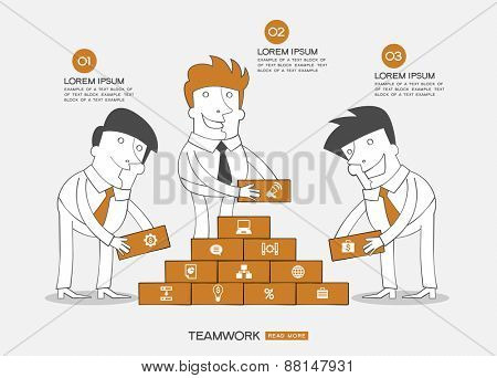 Infographics business background. Concept teamwork. Business people building the wall surrounded by business icons, text.