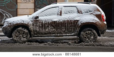 Saint-petersburg, Russia- January 25: Grunge Streets Of The Saint-petersburg After The Snowstorm On