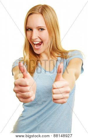 Blonde cheering happy woman holding both thumbs up