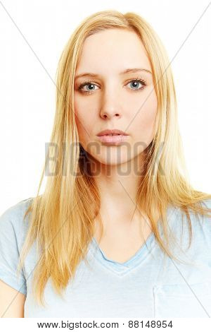 Passport photo of young blonde neutral looking woman