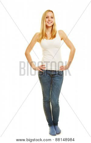 Front view of slim blonde woman with her arms akimbo as full body shot