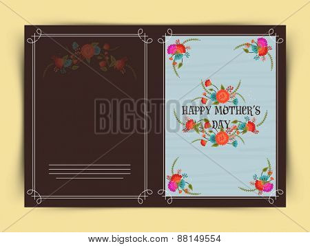 Beautiful flowers decorated greeting card design for Happy Mother's Day celebration.