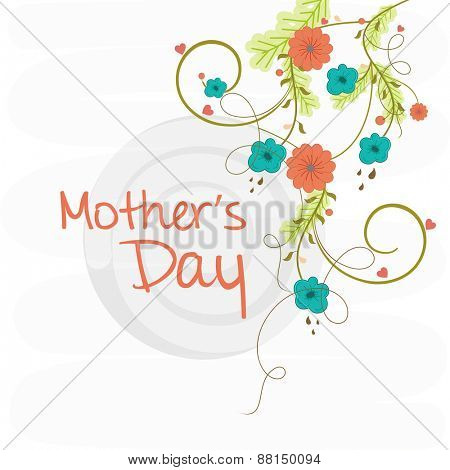 Beautiful flowers decorated greeting or invitation card design for Happy Mother's Day celebration.