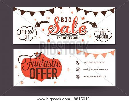 End of Season, Big Sale website header or banner set with super discount and fantastic offers.